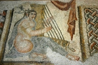 Mosaic of a Woman Playing the Harp